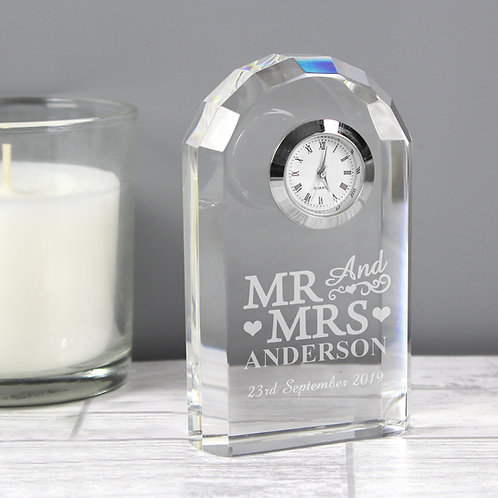 Personalised Mr & Mrs Crystal Clock