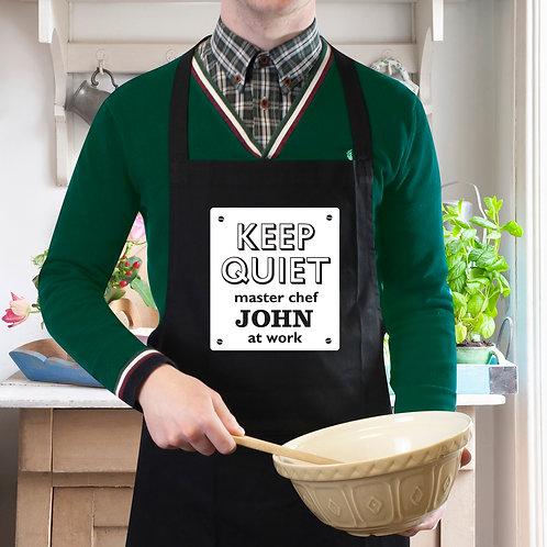 Personalised Keep Quiet Black Apron