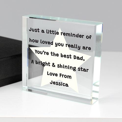 Personalised Star Poem Large Crystal Token