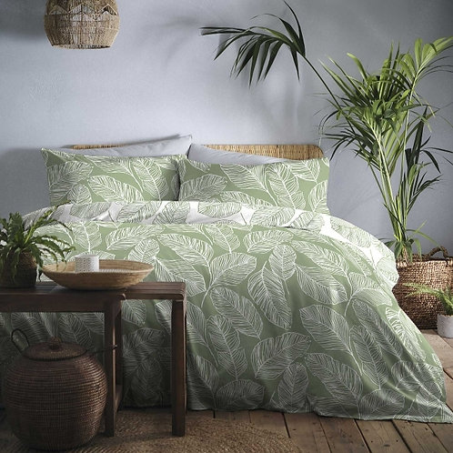 Palm Leaf Print Reversible Green Duvet Cover Set