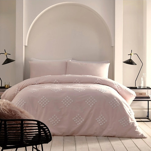 Diamond Tuft Textured 100% Cotton Blush Pink Duvet Cover Set