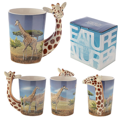 Ceramic Safari Printed Mug with Giraffe Head Handle