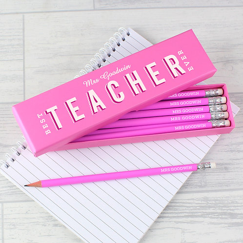 Personalised Best Teacher Ever Box and 12 Pink HB Pencils