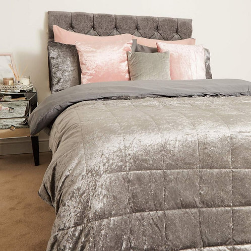 Crushed Velvet Weighted Blanket - Silver Grey