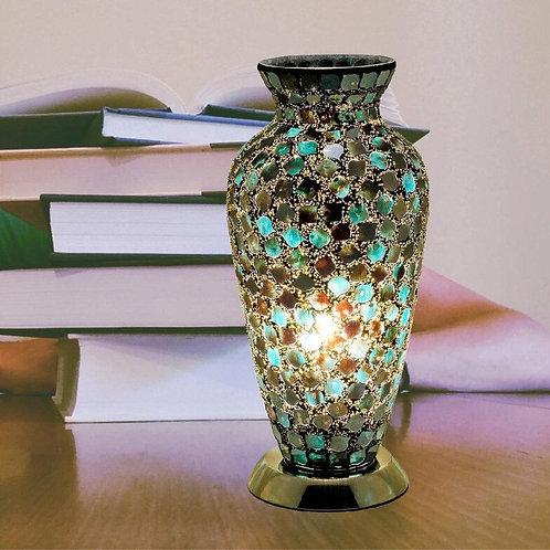 Dark Green Tile Mosaic Glass Vintage Vase Table Lamp 38cm