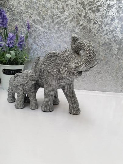 Silver Sparkly Elephant & Baby