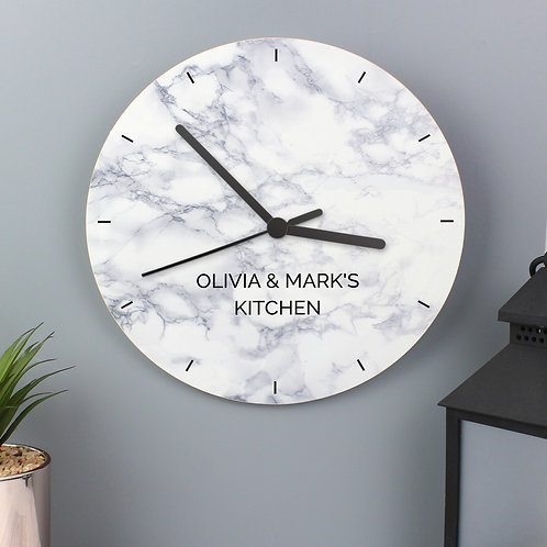 Personalised Marble Effect Wooden Clock