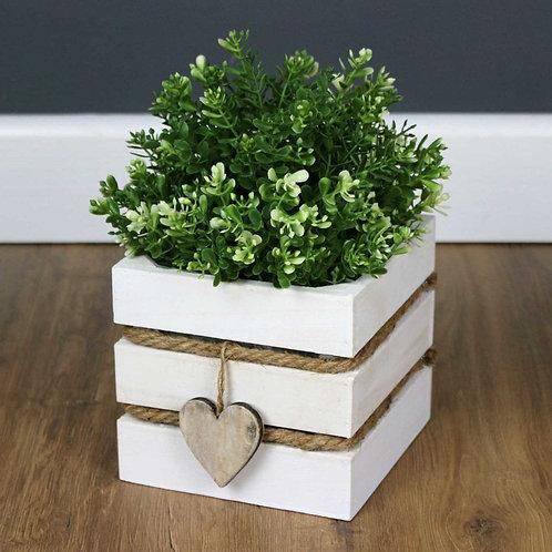 Square White Wash Wooden Plant Pot