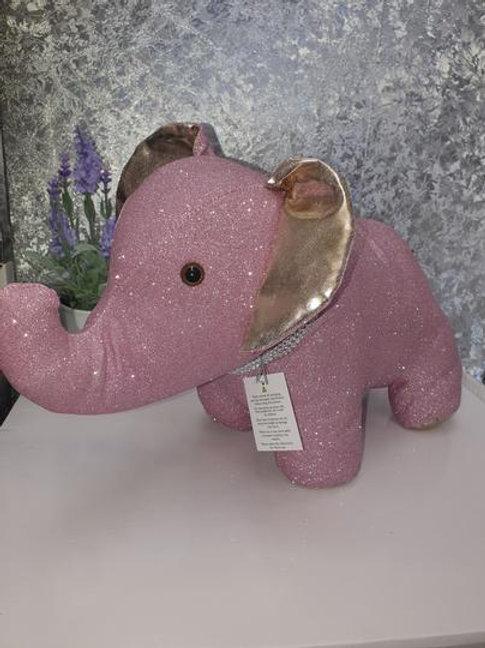 Pink Glittery Elephant Door Stop
