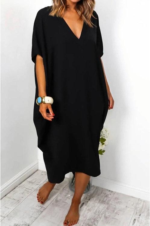V Neck Oversized Midi Dress