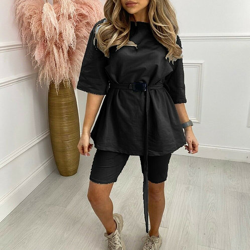 Ladies Oversized Belted T-Shirt & Cycling Short Set