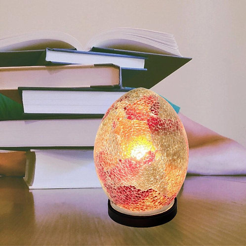 Red Crackle Mosaic Glass Vintage Egg Table Lamp 20cm
