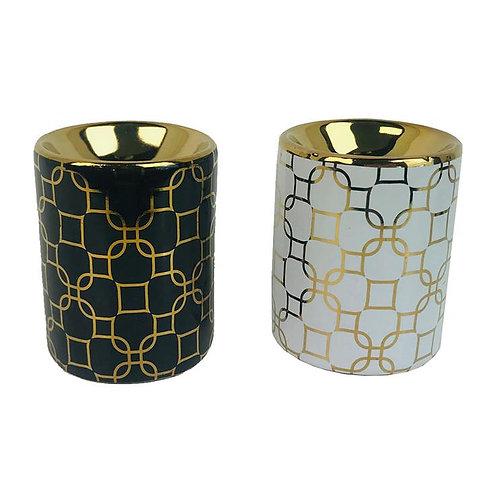 Ceramic Geometric Metallic Gold Eden Oil Burner