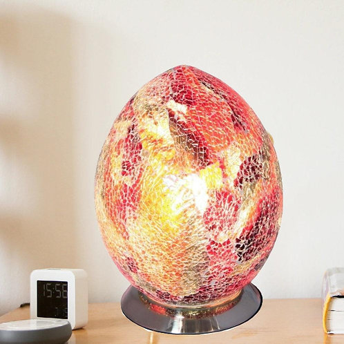 Red Crackle Mosaic Glass Vintage Egg Table Lamp 30cm