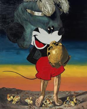 Micky Con Peluca, Pollos y Cráneo