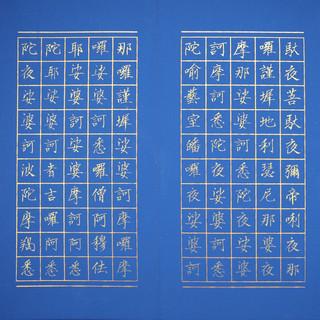 7大悲咒  唯心藏經 小楷 金墨 樟木萬年藍冊頁(頁面)  30x180cm