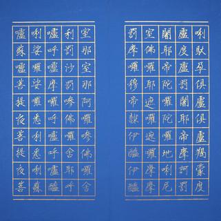 6大悲咒  唯心藏經 小楷 金墨 樟木萬年藍冊頁(頁面)  30x180cm