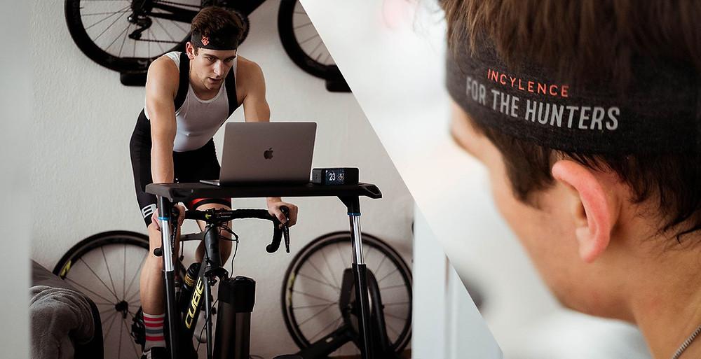 פרדריק עובד קשה באימון רכיבת אופניים בטריינר