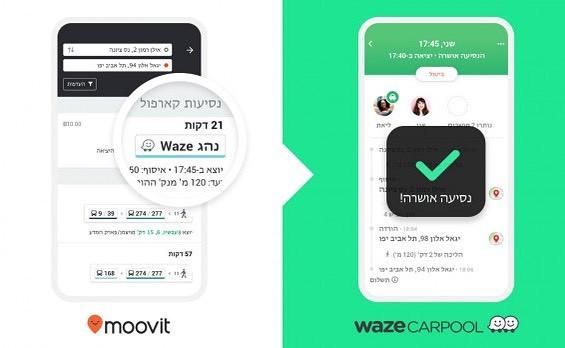 שיתוף פעולה קארפול בין אפליקציית הניווט ווייז לאפליקציה לתכנון נסיעה מוביט