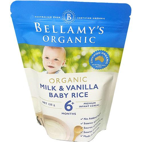 Bellamy's Organic Baby Rice Cereals - Milk & Vanilla 125g
