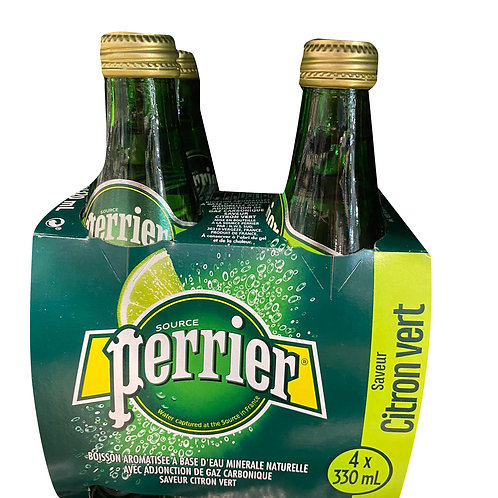 Perrier Sparkling Mineral Bottle Water - Lime 4 x 330ml