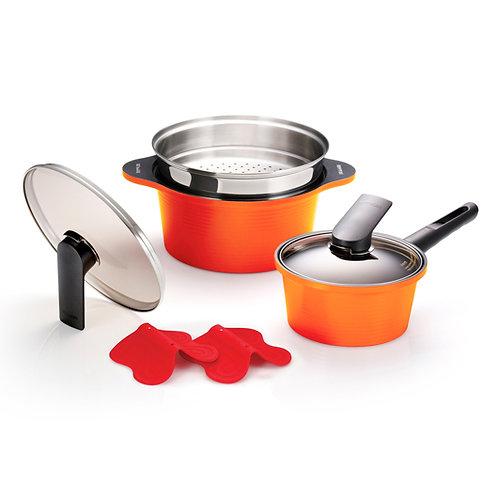 Happycall Alumite 2Pc Die Cast Pots & Steamers Set - Orange - 3900-2088