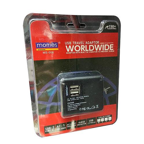 Morries USB Travel Adaptor (MS-006BK) 1 per pack