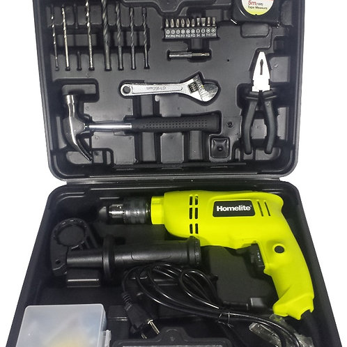 HOMELITE 650W 13MM IMPACT DRILL KIT, HID650RSK, W/138pcs ACCESSORIES & CASE