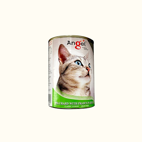 Angel Premium Can Cat Food - Pilchard with Prawn in Jelly 400g