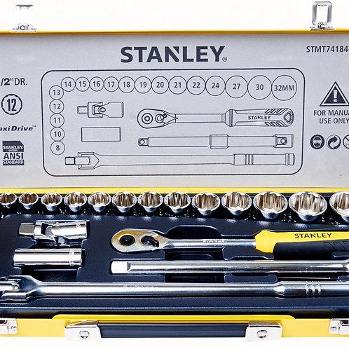 "STANLEY 24PCS 1/2""DR. 12PT SOCKET METRIC, IN METAL BOX STMT74184-8"