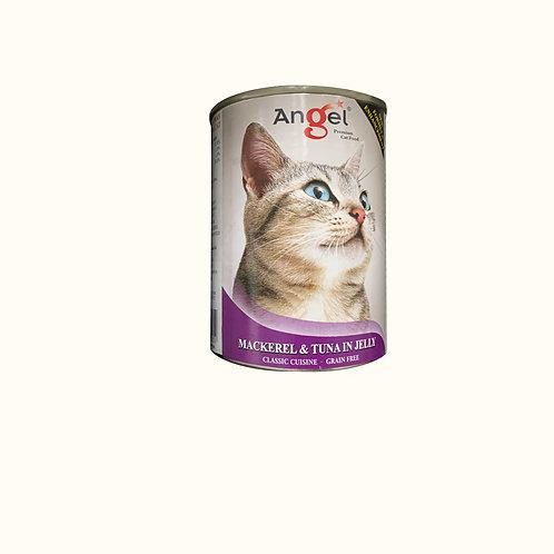 Angel Premium Cat Can Food - Mackerel & Tuna in Jelly 400g
