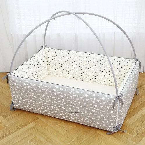 Lolbaby Convertible 100% Premium Cotton Bumper Bed (L) - Moon