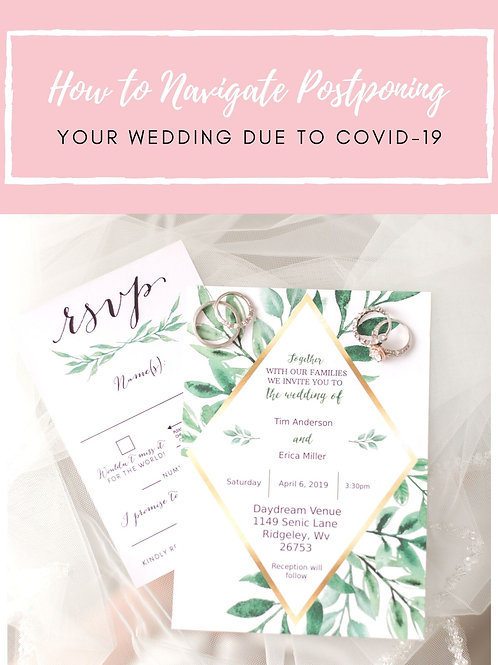 Navigating Postponing Your Wedding Due to Covid-19 Mini Guide Template