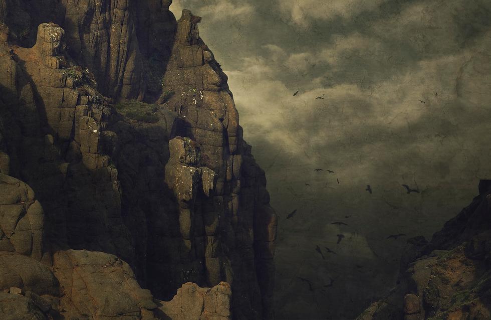 Auf dem Bild sind Felsen und Vögel zu sehen. Alles hat eine düstere Stimmung und ähnelt einem Gemälde.