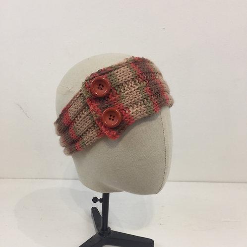 Bandeau turban tricot corail et beige
