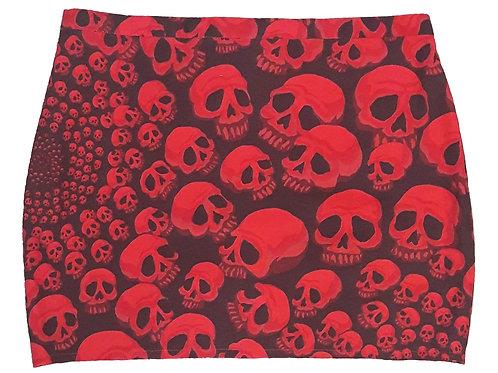 Mini jupe droite tête de mort rouge