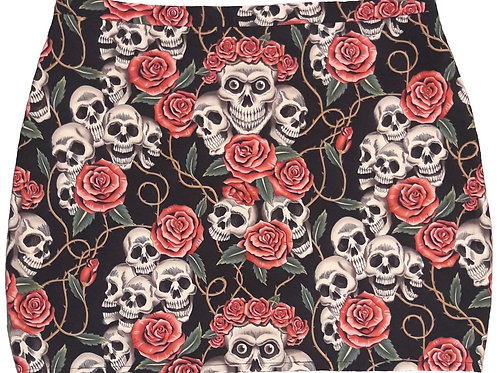 Mini jupe droite tête de mort roses