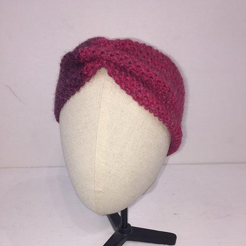 Bandeau turban tricot dégradé de rose