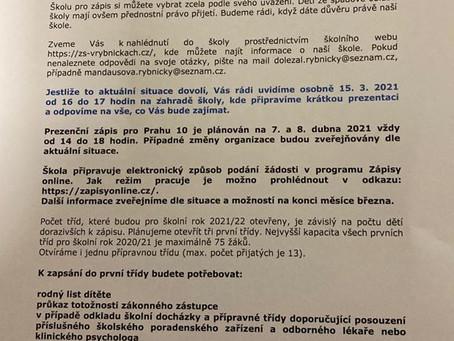 Online setkání se zástupci ZŠ V Rybníčkách