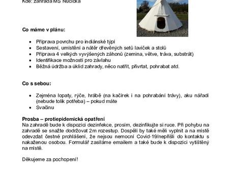 Pozvánka na brigádu v MŠ Nučická