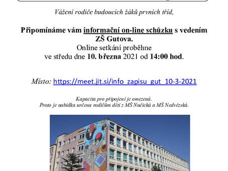 Distanční vzdělávání v MŠ + pozvánka na online schůzku k zápisu do ZŠ Gutova
