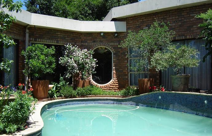Houerbome rondom 'n swembad wat gebou is in 'n binnetuin