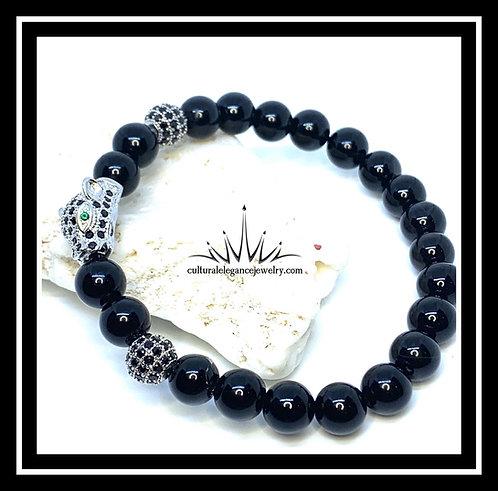 Onyx Panther (Silver) Bracelet