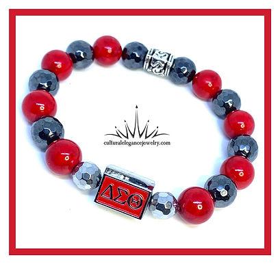 "Delta Sigma Theta ""Inspired"" Bracelet w/Block Charm"