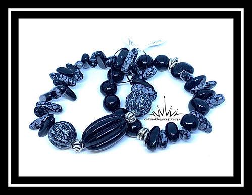"""Obsidian """"Chip"""" Bracelet Set"""