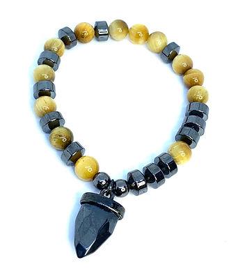 Hematite and Yellow Tiger's Eye Arrow Bracelet