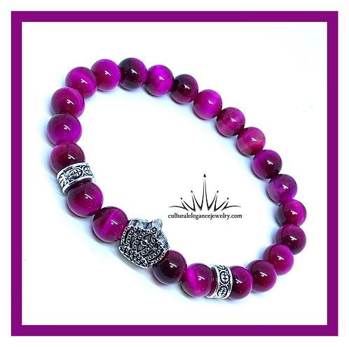 Fuschia Tiger's Eye Crown Bracelet