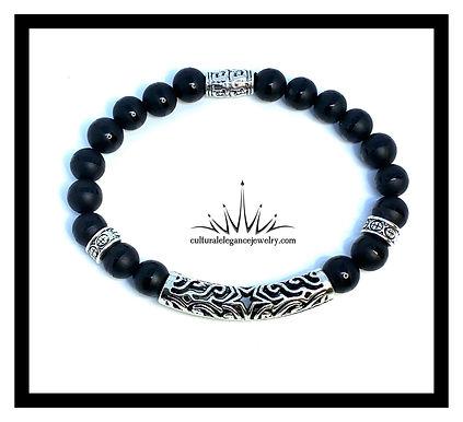 Black Agate w/Silver Bar Bracelets