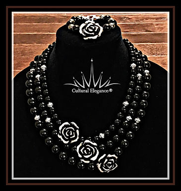 3-Strand Onyx and Rose Necklace and Bracelet