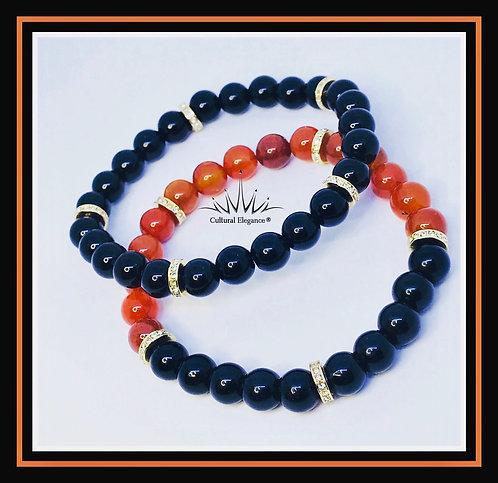 Black Obsidian/Orange Citrine Bracelet